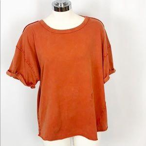 NWT FP Movement Burnt Orange Acid Washed T-Shirt